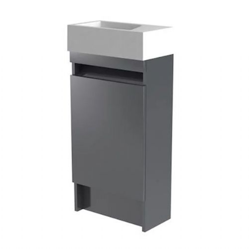 Kartell Ikon Floor Standing Cloakroom Vanity Unit With Basin - 400mm - Grey - Right Handed